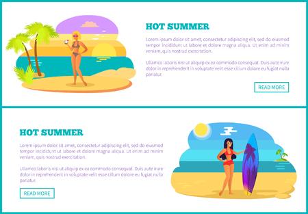 Hot Summer Web Poster Tropical Beach and Women