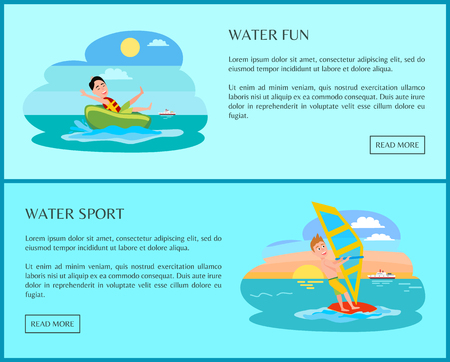 Fun water sport banner with happy people on sea, text sample above push buttons, vector illustration, windsurfer and man in surfing tablet, ocean waves.
