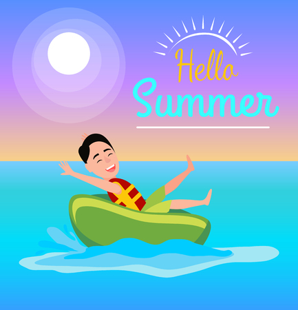 Hello summer poster boy ride on ring have fun, summertime activity inflatable donut in seawater, seasonal water amusement vector illustration banner.