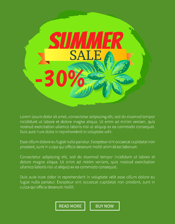 Summer sale 30 off web poster push buttons. Advertisement about summertime discount online page banner cartoon vector illustration with text sample.