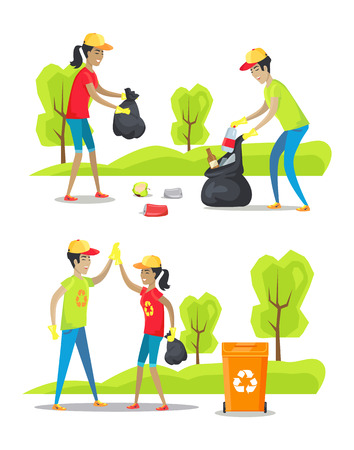 Park cleaning and rubbish collecting color poster isolated on white background vector illustration, working together man and woman, special trash bin