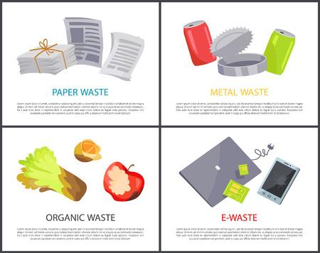 Ekologiczny papier metalowy i e-odpady zestaw kolorowych kart, ilustracji wektorowych z różnymi odpadami, urządzeniami elektronicznymi i gazetami, słoikami i śmieciami spożywczymi