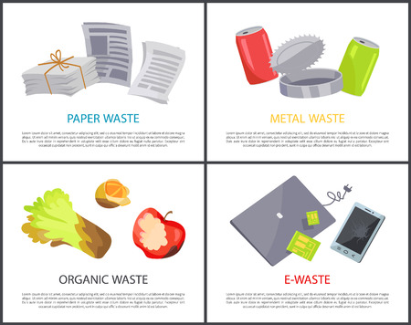 Organic paper metal and e-waste set colorful cards, vector illustrations with various refuse, electronic devices and newspapers, jars and food garbage