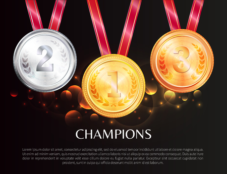 Champions promo poster with medals for winners. Shiny gold, silver and bronze awards red ribbons as prize for win on banner vector illustration.