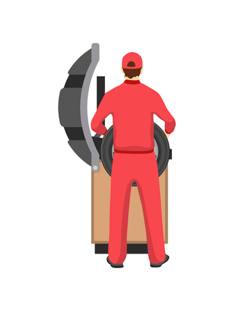 Auto mechanic and holding tyre made of rubber for car, vehicle maintenance done by worker wearing red costume cap isolated on vector illustration