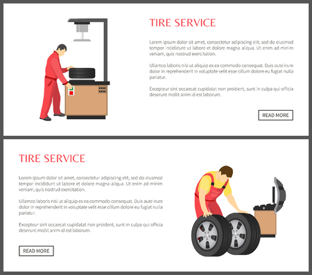 Tire service and automobile workshop color card, professional equipment for wheels servicing or alignment process, working men isolated text sample