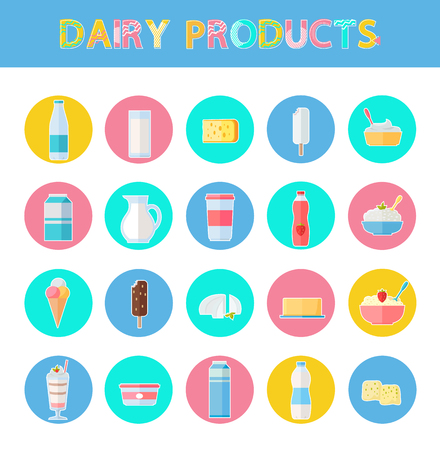 Diary products icons set, poster and food, bottled milk, chocolate ice-cream, cocktail with strawberry, yogurt cheese, collection vector illustration