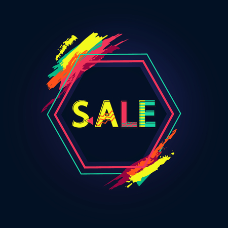 Sale Poster with Big Sign and Bright Paint Touches Vectores