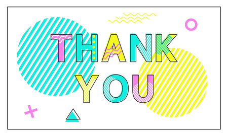 Thank You Poster Geometric Figures in Linear Style