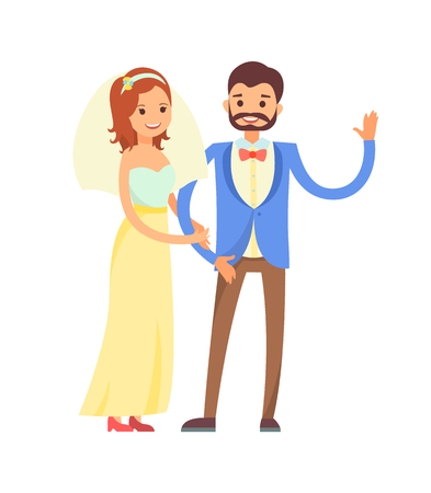 Multicolored wedding, happy newlyweds, bearded groom in stylish jacket, bride wears bright yellow and blue gown with veil flat vector illustration.