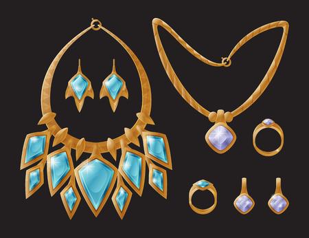 Modèles d'accessoires de bijoux collier de luxe doré, boucles d'oreilles décorées de pierres précieuses, bague de mariage et vecteur de bracelet isolés sur fond noir