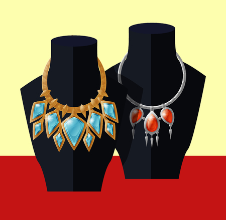 Jewelry necklaces set precious blue topaz and ruby stones on black mannequin, expensive accessory item isolated. Gold chain with aquamarines vector