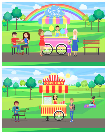 Popcorn and candy cotton stands in park, rainbow happy people, collection of posters with kiosks selling products isolated on vector illustration