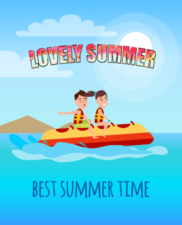Lovely Summer Best Summertime People Banana Boat Vectores