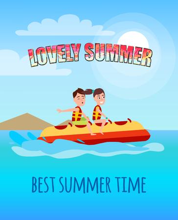 Lovely Summer Best Summertime People Banana Boat Illustration