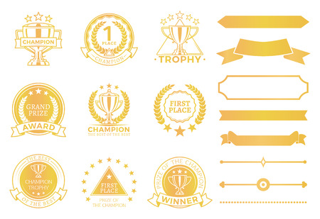 Grand prize award certificates and ribbons in gold. Round seals that approve win. Decorative elements for champions diploma vector illustrations set. Illusztráció