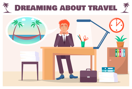 Dreaming about travel banner with guy in office. Man at work desk wants summer vacation and hammock attached to palms near sea vector illustration.
