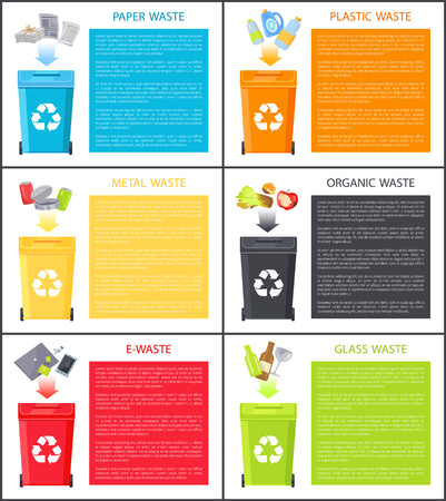 Different waste icons above trash bins color cards, paper metal and organic rubbish near space for text sample, laptop phone and other e-waste example