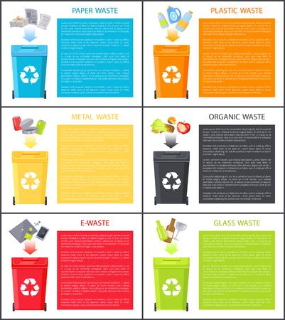 Verschiedene Abfallsymbole über Mülltonnen-Farbkarten, Papiermetall und organischer Müll in der Nähe von Platz für Textproben, Laptop-Telefon und andere Beispiele für Elektroschrott
