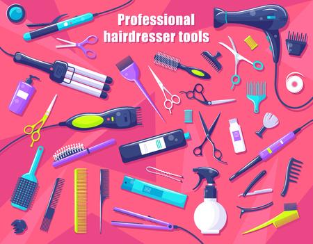 Herramientas de peluquería profesional aisladas en rosa, ilustración vectorial de equipo especial para peinado y cuidado del cabello, tijeras y cepillos para corte de pelo Ilustración de vector