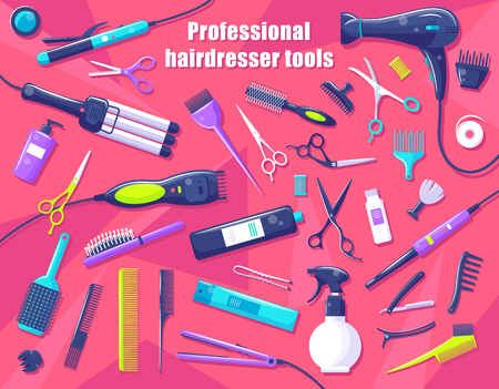Professional hairdresser tools isolated on pink, vector illustration of special equipment for hair styling and care, scissors and brushes for haircut 일러스트