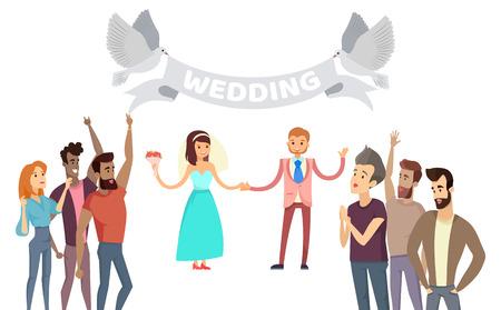 Wedding Process Lot of Friends on Festive Ceremony