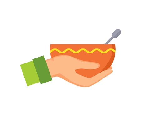 Hand holding bowl with ornament made of yellow line, plate and metal object in it, male arm icon wearing green clothes isolated on vector illustration