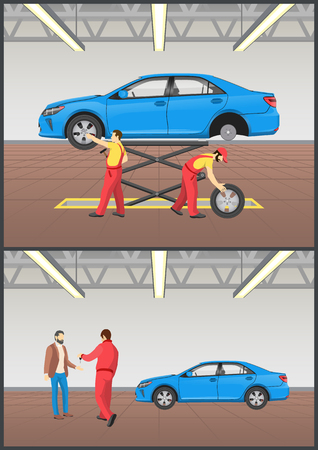 Auto mechanic raising car with help of construction and client having vehicle repaired ready to take keys from man images set vector illustration Stock Illustratie