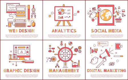 Web design and management set web design, social media, digital marketing, posters collection with information style in red colors vector illustration