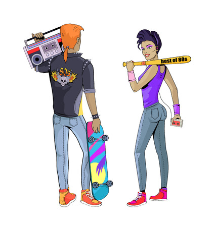People Wearing Clothes of 80s Vector Illustration