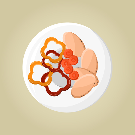 Plate with Pepper and Carrot Vector Illustration Banco de Imagens
