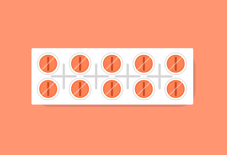 Pills in plastic strip package relieving pain and helping people to recover quickly, fighting illness vector illustration isolated on red background