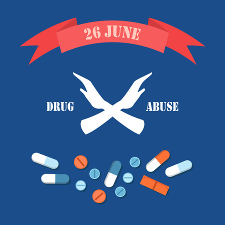 Drug abuse 26 June poster with human hands crossed saying stop to narcotic products and addiction, pills and headline in ribbon vector illustration