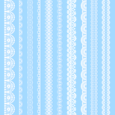 Vertical laces collection, white seamless borders for design. Light laced silhouettes isolated on blue. Vector decorative stripes stylized tapes