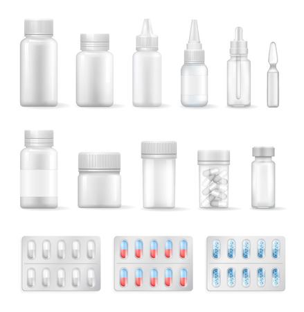 Zestaw pustych pojemników na płyny medyczne i tabletki