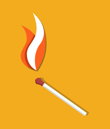 Flaming Match Icon Abstract Vector Illustration