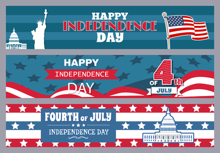 Happy independence day stripe with flag statue of Liberty, Capitol building place of congress meetings, fourth of July collection vector illustration