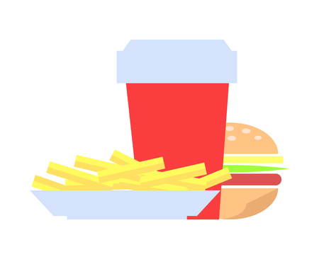 Burger made of bun, ham and french fries, red cup filled with drink, dishes to feel full, prepared potato, beverage isolated on vector illustration
