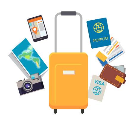 Documents de voyage et articles mis en illustration vectorielle
