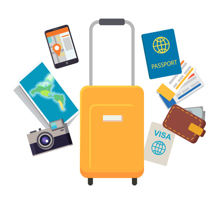Reisedokumente und Gegenstände setzen Vektorillustration