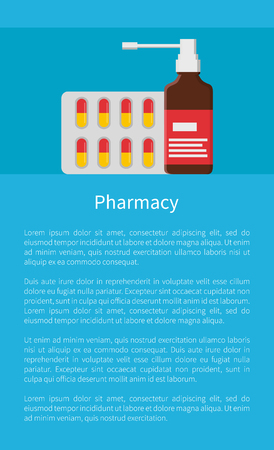 Pharmacy Poster Blister Capsules, Aerosol Spray Illustration