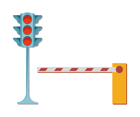Traffic lights with red color and barrier not allowing to enter vector illustration isolated on white. Prohibited entrance signs, closed way concept