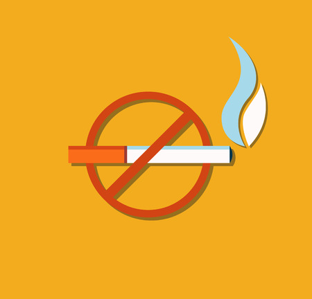 No smoking sign crossed burning cigarette, not allowed tobacco symbol, forbiddance of smoke in public place vector illustration of cigar in red circle