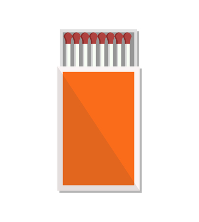 Open box of matches icon vector illustration isolated on white. Tool for starting fire made of small wooden sticks or stiff paper in red paperbox