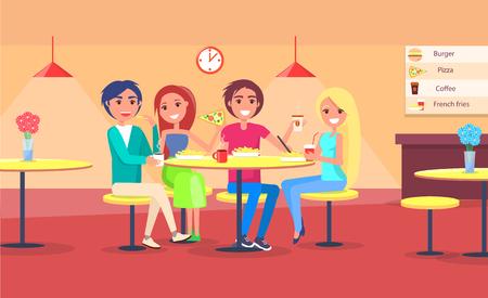 Amigos comiendo pizza en la ilustración de vector de café de parejas felices tomando un refrigerio en el restaurante, gente sentada en sillas en la mesa de diseño de interiores