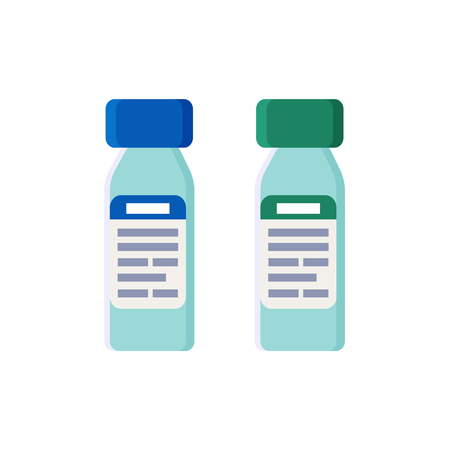 Plastic bottles with tight covers and labels set. Prescription on stickers of containers to keep medical liquids inside isolated vector illustrations.