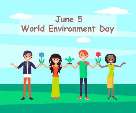 Ilustración de vector de junio del día mundial del medio ambiente