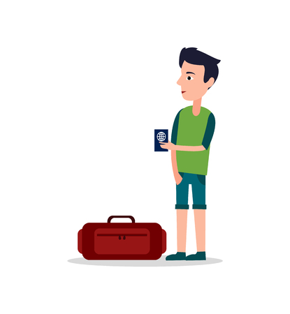 Man with International passport in hands stands near luggage suitcase travelling bag with zipper and handle vector illustration isolated on white.
