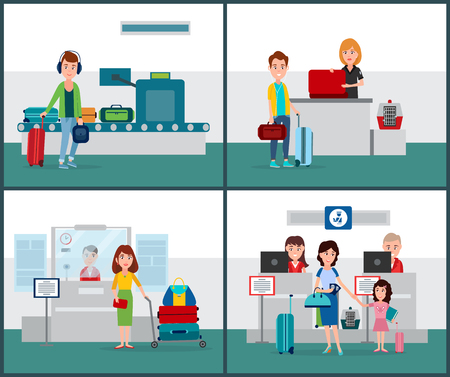 International flights collection, people passing passport control and having their luggage back from x-ray scanning, airport set vector illustration