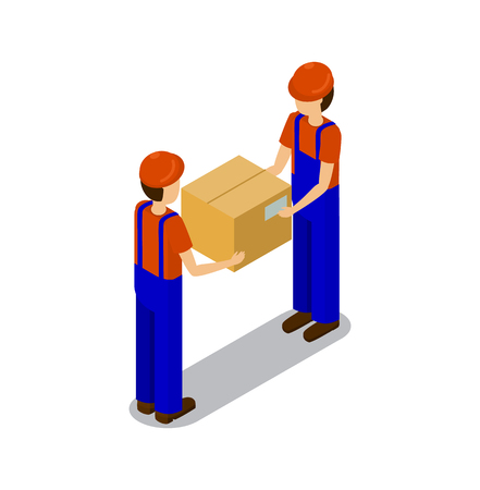 Plant workers transporting products in square box, isolated on white background employees in blue coverlass and red caps, abstract factory production